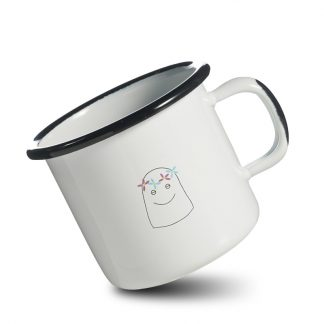 mug emaille happy bonne humeur