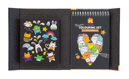 carnet colorier crayon glace chat