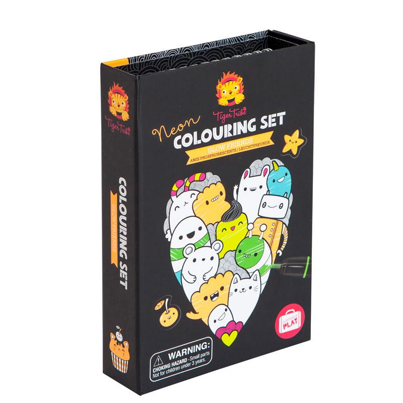Coloriage Gourmandise Kawaii.Coffret De Coloriage Neon Glow Friends La Malle A Confettis