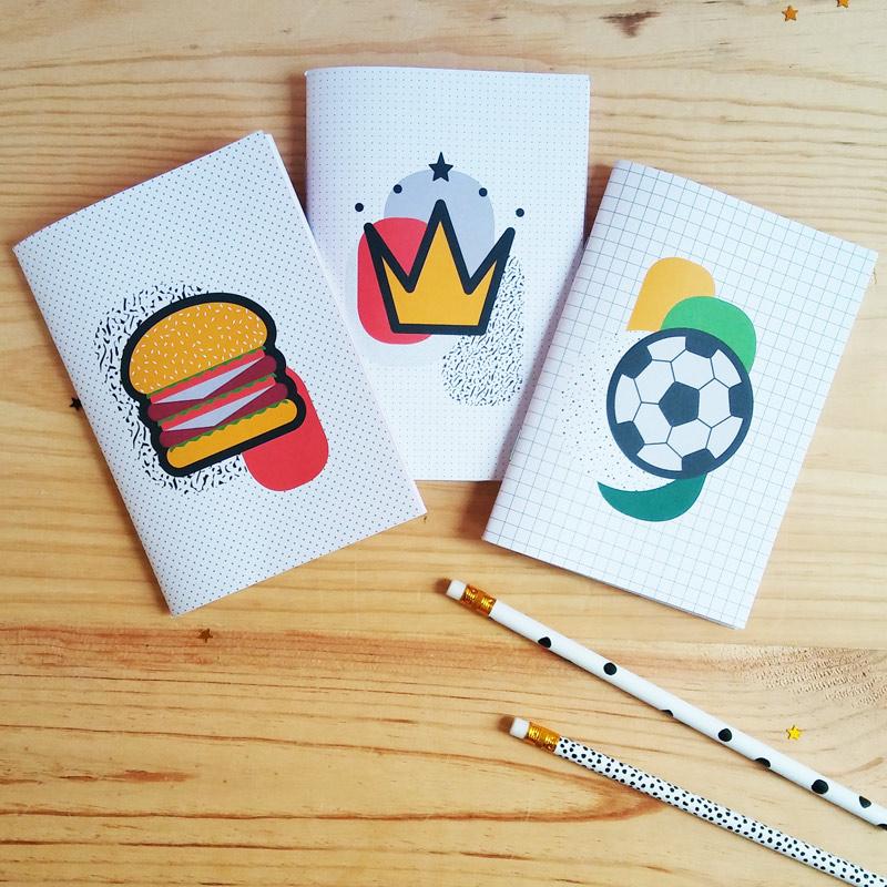 Carnet A6 Kid X3 Burger Couronne Et Ballon De Foot Papier Merveille