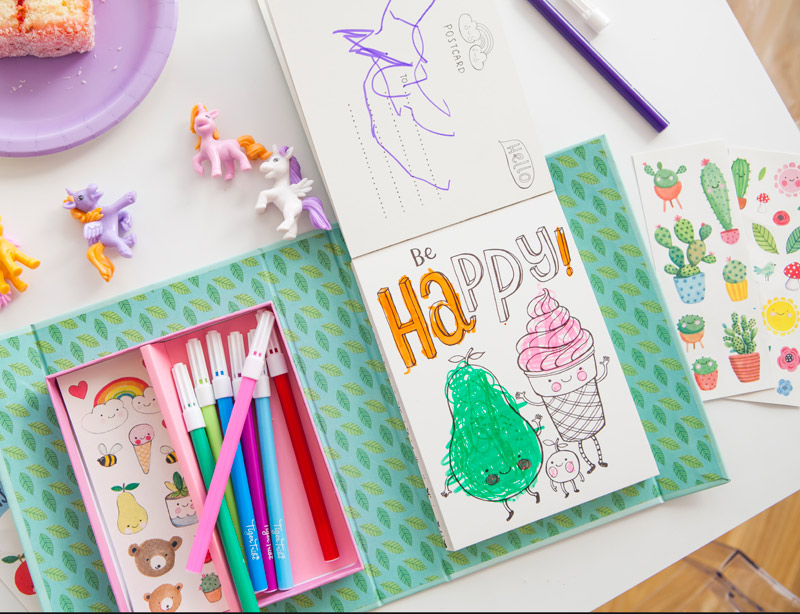 Kit Coloriage Fille.Coffret Creatif Pour Cartes Postales Hello Tiger Tribe La Malle A