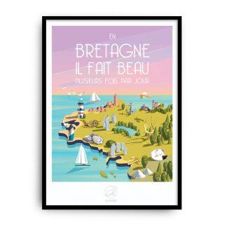 poster deco murale cadeau breton souvenir carte illustration region bretonne