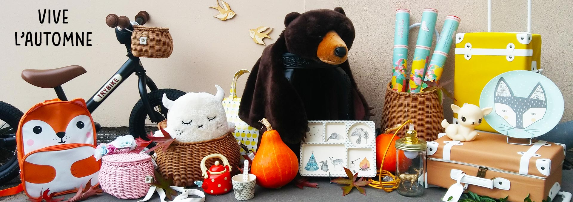 panier osier valise doudou peluche bambou ours biche