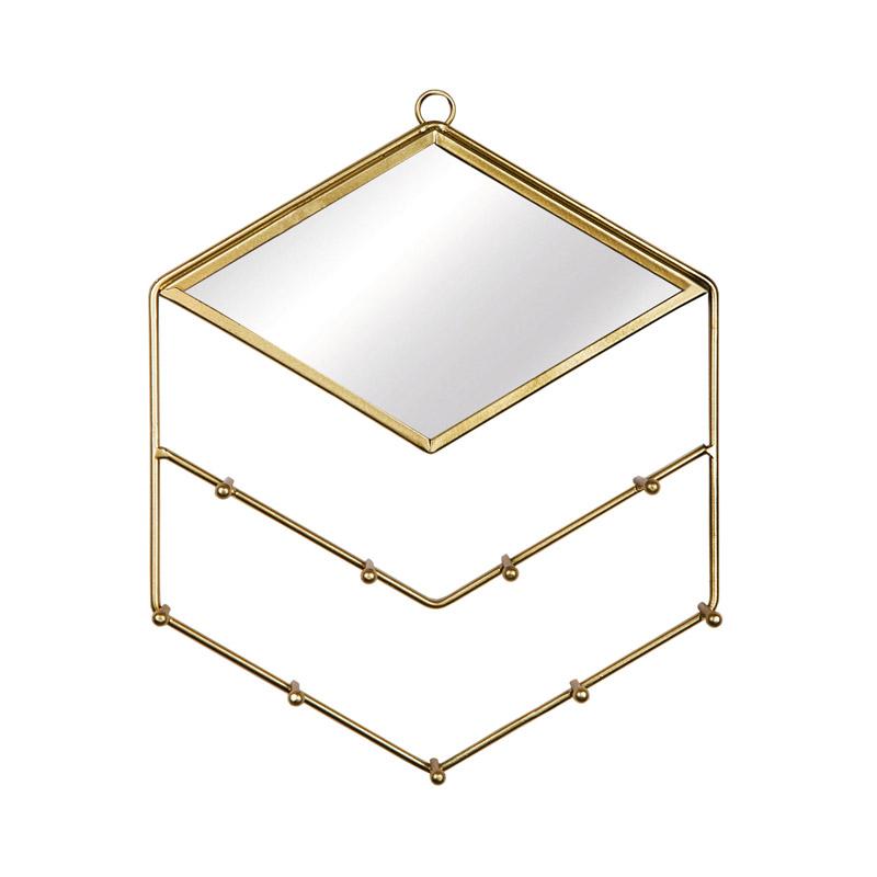 Porte-bijoux et miroir losange doré