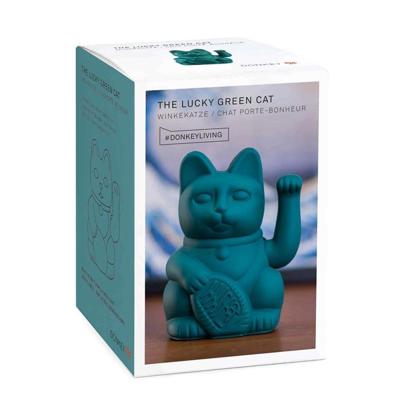chat porte bonheur vert famille et compagnie la malle. Black Bedroom Furniture Sets. Home Design Ideas