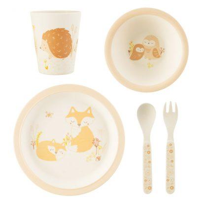 repas cadeau naissance enfant fox assiette gobelet couvert bol table manger