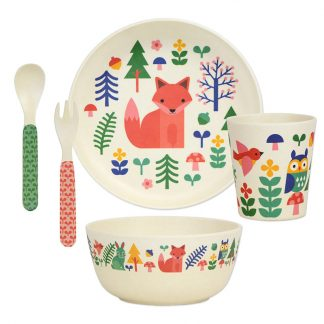 cadeau naissance bebe baby shower repas manger table assiette fox animal sauvage