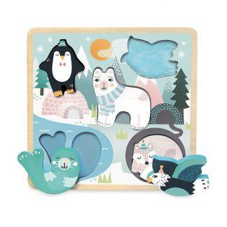cadeau naissance bébé éveil jouet motricité fine pingouin ours phoque renard aigle